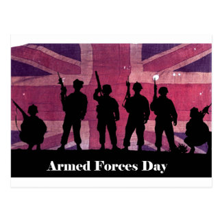 UK Armed Forces Day Union Flag with Soldiers Postcard
