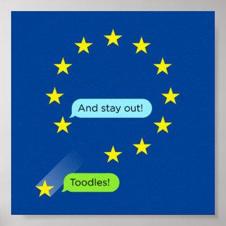 "UK Brexit ""Toodles!"" Poster (EU Blue)"