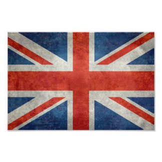 UK British Union Jack flag retro style photo print