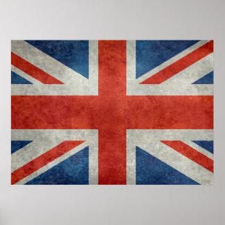 UK British Union Jack flag retro style poster