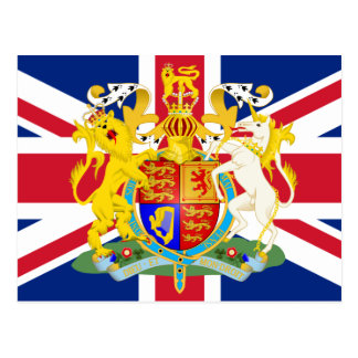 UK Coat of Arms & Flag Postcard