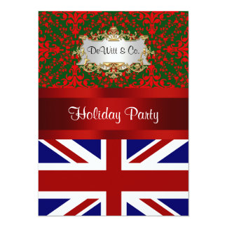 UK England Flag Christmas Holiday Damask 2 V Party 14 Cm X 19 Cm Invitation Card