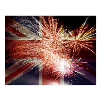 UK England Union Jack Flag with Fireworks Postcard