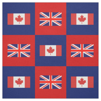 UK Flag, Canada Flag on Red & Navy Blue Fabric