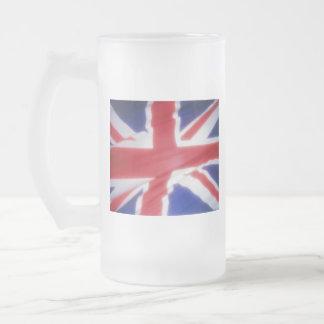 UK FLAG FROSTED GLASS BEER MUG