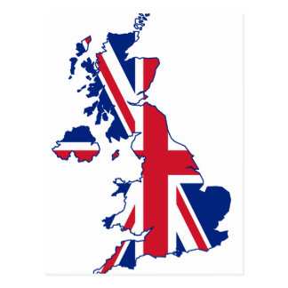 UK Flag Map Postcard