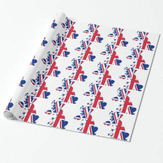 UK Flag Map Wrapping Paper