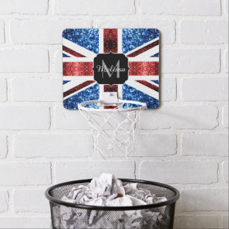 UK flag red and blue sparkles glitters Monogram Mini Basketball Hoop
