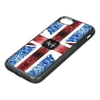 UK flag red and blue sparkles glitters Monogram OtterBox Symmetry iPhone 8/7 Case