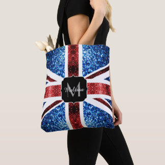 UK flag red and blue sparkles glitters Monogram Tote Bag