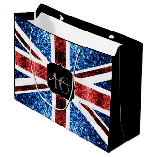 UK flag red blue sparkles glitters Sweet 16 Large Gift Bag