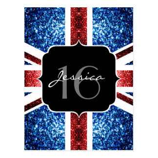 UK flag red blue sparkles glitters Sweet 16 Postcard