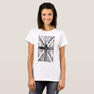 UK Flag, Sketchy Line, Monochromatic T-Shirt