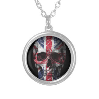 UK flag skull Silver Plated Necklace