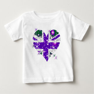 UK Flag sparkly heart kids Baby T-Shirt