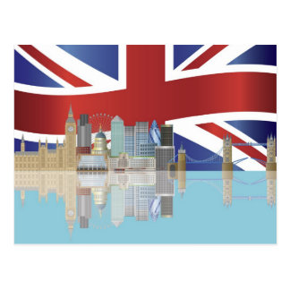 UK London Skyline with Union Jack Flag Postcard