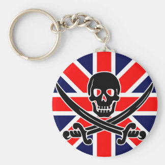 UK pirate flag. Basic Round Button Key Ring