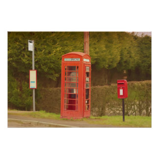 UK Post Box, A Bus Stop and a Telephone Box Poster