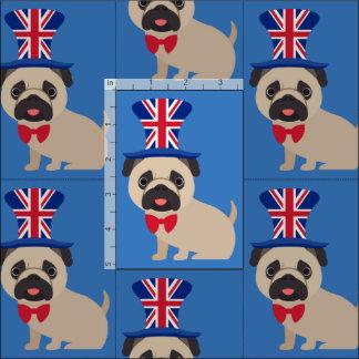 UK Pug with Union Jack Hat Fabric