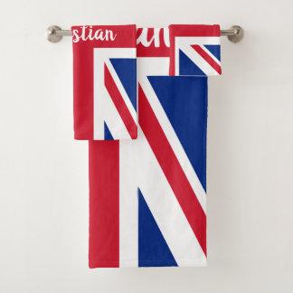 UK Union Jack British Themed Personalised Bath Towel Set