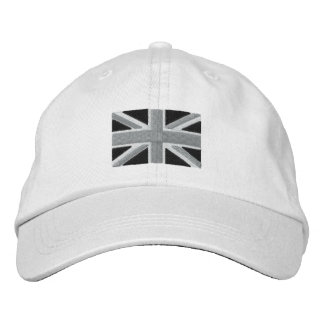 UK Union Jack Flag In Black And White Embroidered Hat
