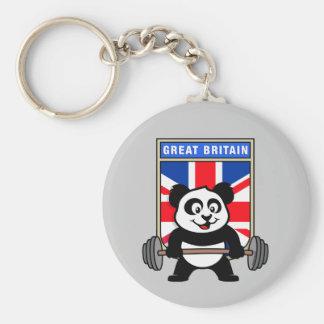 UK Weightlifting Panda Basic Round Button Key Ring