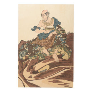 Ukiyo-e Immortal Buddhist Monk on a Toads Head Wood Wall Art