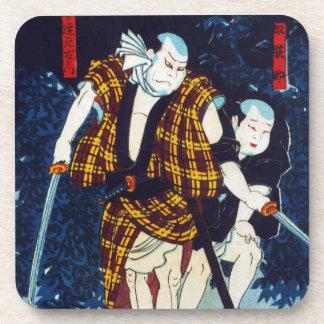 Ukiyo-e Japanese Painting Of Two Kabuki Players Beverage Coaster