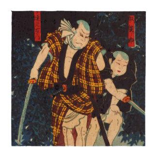 Ukiyo-e Japanese Painting Of Two Kabuki Players Drink Coasters