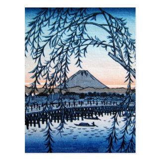 Ukiyo-e Mt. Fuji Japan Postcard