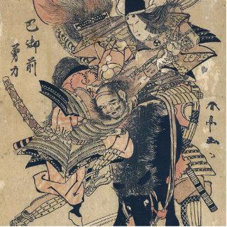 Ukiyo-e Old Japanese Painting Of Two Samurais Standing Photo Sculpture