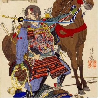 Ukiyo-e Painting Of A Samurai Biting A Sword Photo Sculptures