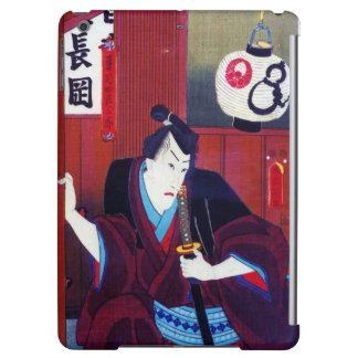 Ukiyo-e Painting Of A Samurai Wearing Black Kimono Cover For iPad Air