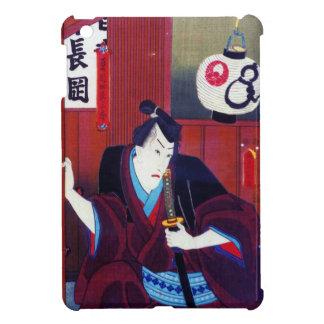 Ukiyo-e Painting Of A Samurai Wearing Black Kimono Cover For The iPad Mini