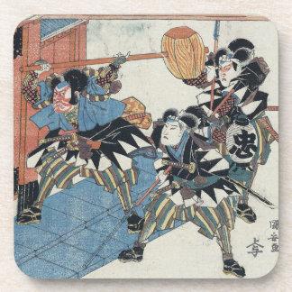 Ukiyo-e Painting Of Three Samurais In Kabuki Show Drink Coasters