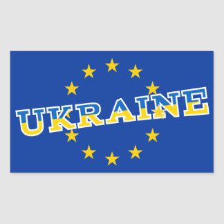 Ukraine and European Union flag design Rectangular Sticker