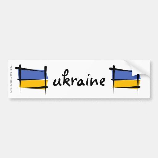 Ukraine Brush Flag Bumper Stickers