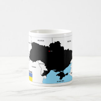ukraine country political map flag coffee mug