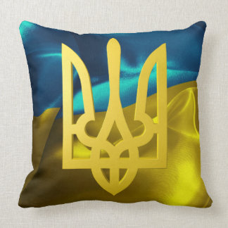 Ukraine Flag and Tryzub Cotton Throw Pillow