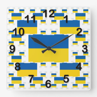 Ukraine Flag in Multiple Colorful Layers 2 Square Wall Clock