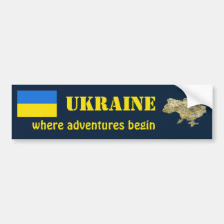 Ukraine Flag + Map Bumper Sticker