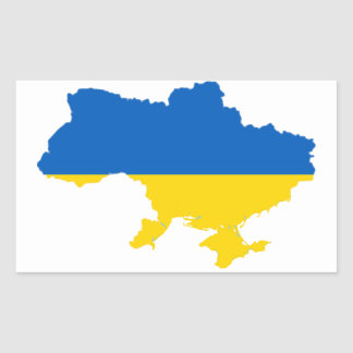 Ukraine Flag Map Rectangular Sticker