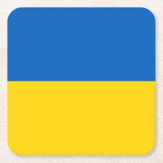 Ukraine Flag Square Paper Coaster