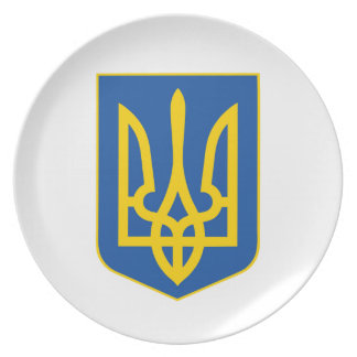 Ukraine national emblem country symbol flag plate