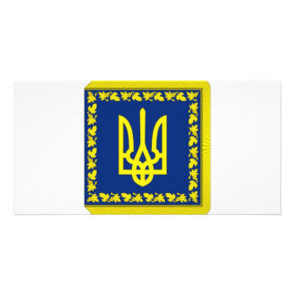 Ukraine President on land Flag Photo Cards