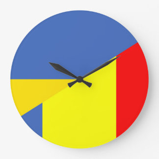 ukraine romania flag country half symbol large clock