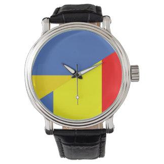 ukraine romania flag country half symbol watch