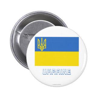 Ukraine Traditional Flag with Name 6 Cm Round Badge