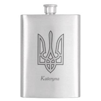 Ukraine Trident in Silver on Hip Flask
