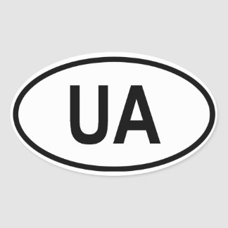 """Ukraine """"UA"""" Oval Sticker"""